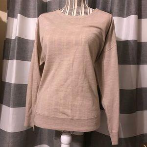 J. Crew zipper shoulder sweater. Tan. Lightweight